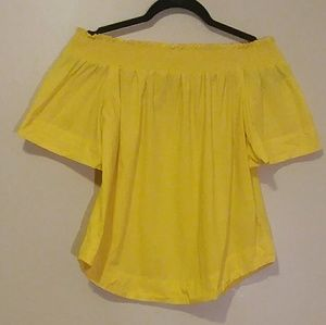 J. Crew Canary Yellow Off Shoulder Cotton Top Sz 6